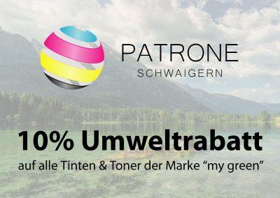 """Patrone Schwaigern – 10% Rabatt auf alle Tintenpatronen und Toner der Marke """"my green"""""""